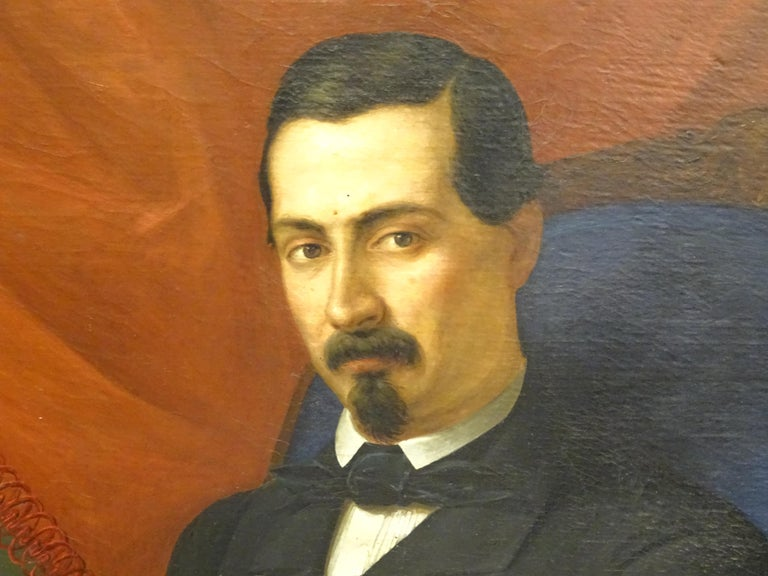 Mid-19th Century Painting Portrait of Spanish Bourgeois, Oil on Canvas, Gilt Carved Frame For Sale
