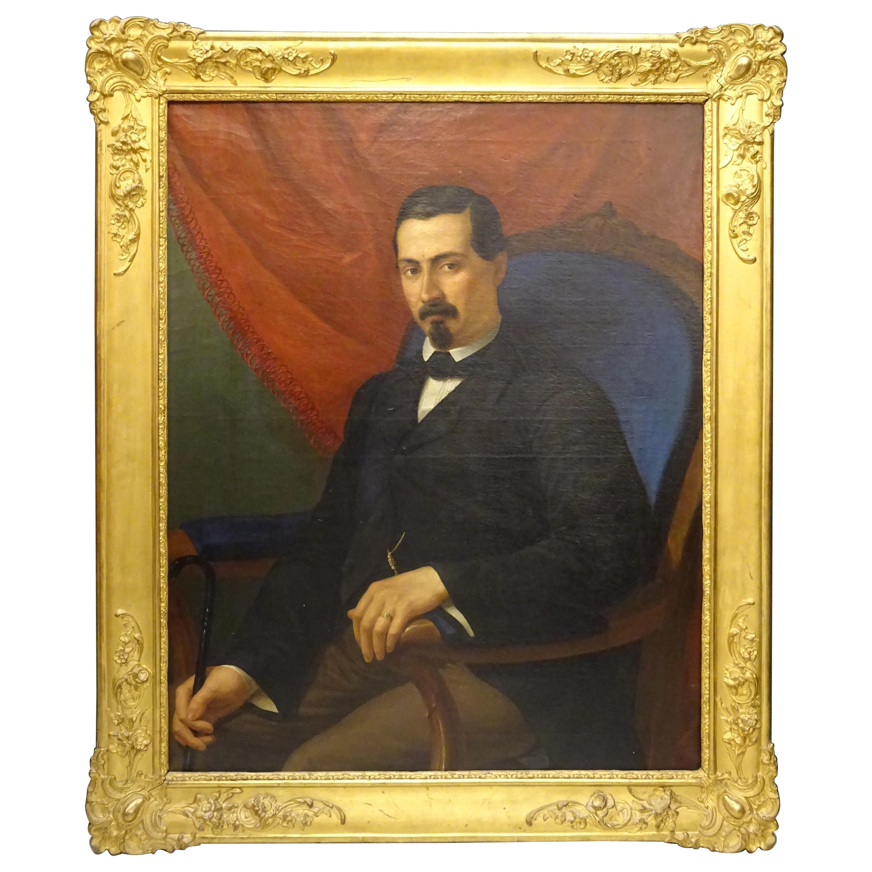 19th Painting Portrait of Spanish Bourgeois, Oil on Canvas, Gilt Carved Frame
