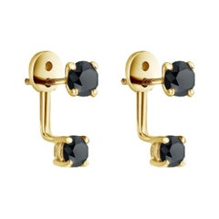 1.00 CT Black Diamond Studs & Ear Jackets Set in 14K Yellow Gold, Shlomit Rogel