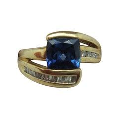 1ct Cushion Cut Genuine Natural Tanzanite Ring with Diamonds '#J830'