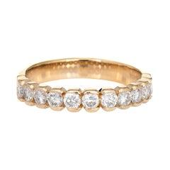1ct Diamond Half Hoop Band Vintage 14k Yellow Gold Wedding Stacking Ring