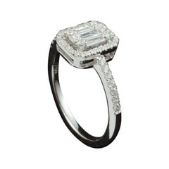 1ct Emerald Cut Diamond Illusion Engagement Ring Set in 18kt Gold