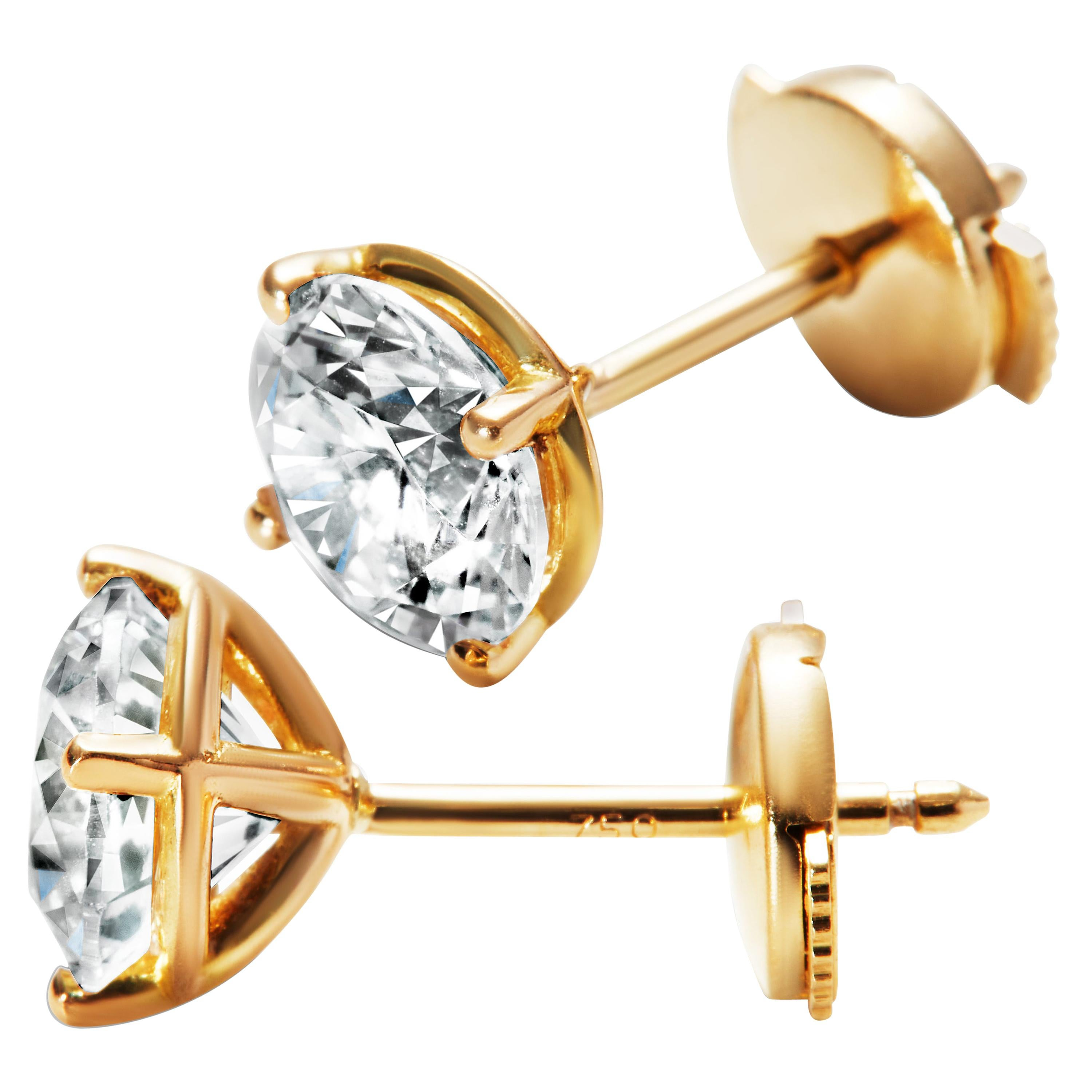 1ct Solitaire Traceable Diamond Ear Studs In 18k Yellow Gold by Rocks for Life