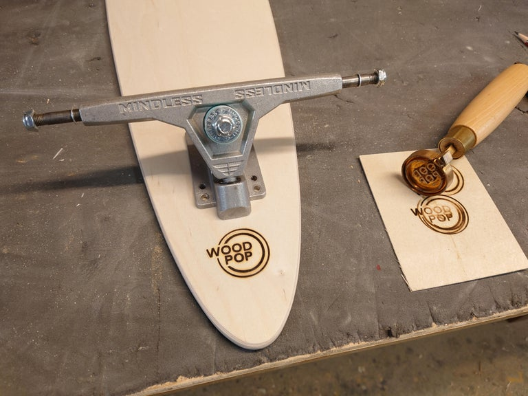 Wood 1M Marquetry Pintail Longboard For Sale