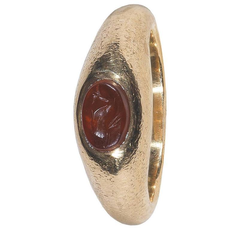Women's or Men's 1st Century AD Roman Empire Carnelian Dolphin Intaglio Ring For Sale