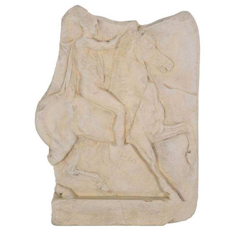 1st Century BC Greek Hellenistic Horseman Relief Cast Wall Plaque For Sale