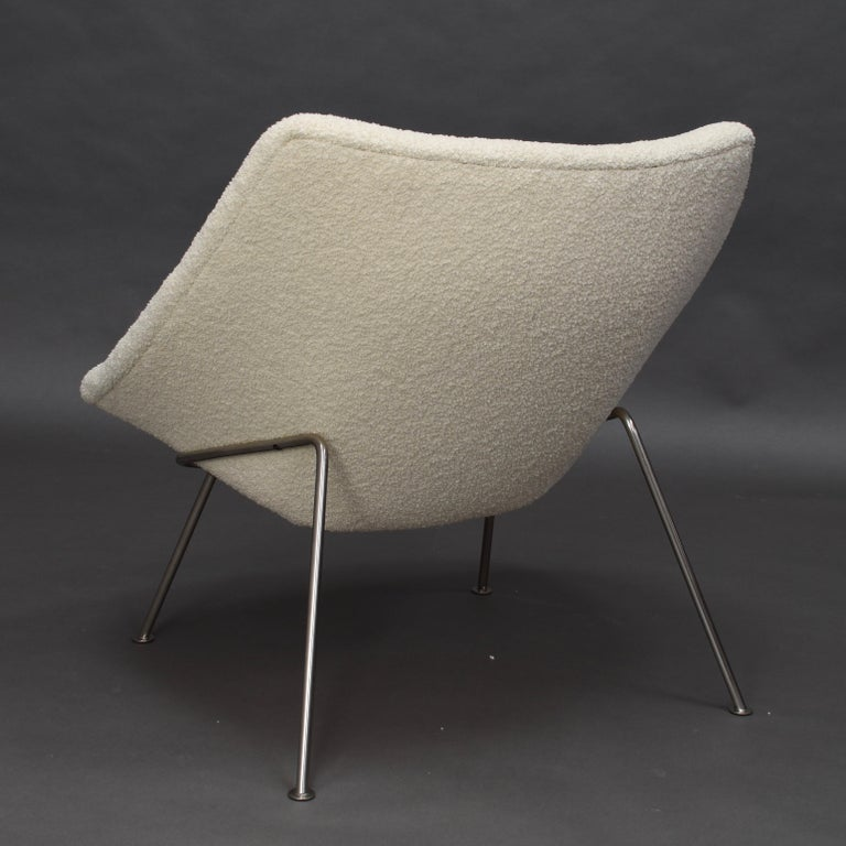 Stainless Steel 1st Edition Oyster Lounge Chair by Pierre Paulin Artifort New Upholstery, 1965