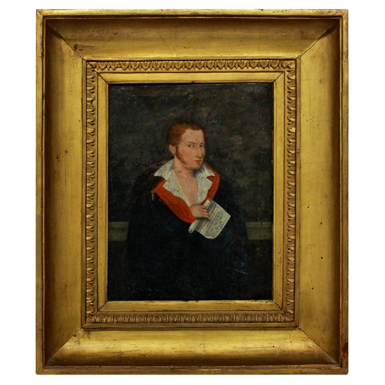 1st Empire Oil of a Red Haired Young Man For Sale