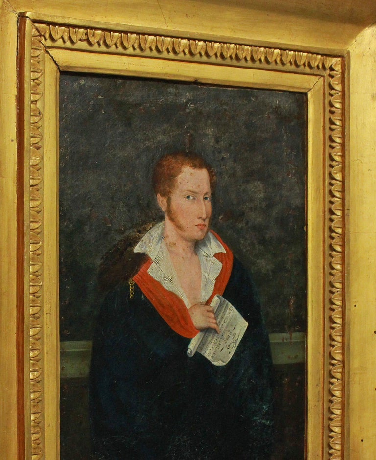 French 1st Empire Oil of a Young Man For Sale