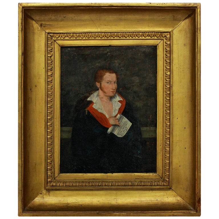 1st Empire Oil of a Young Man For Sale