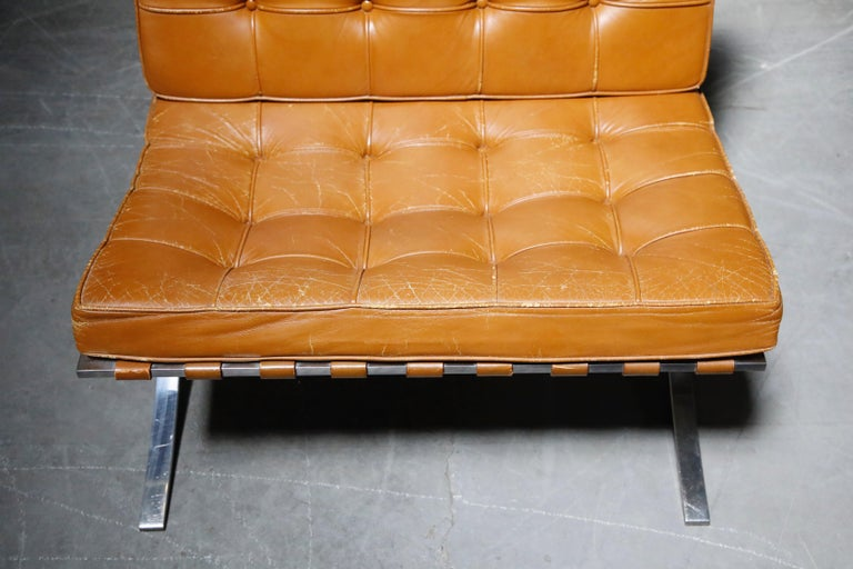 1st-Gen Knoll Associates Barcelona Chair by Mies van der Rohe, Double Signed For Sale 4