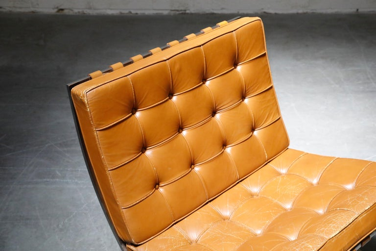 1st-Gen Knoll Associates Barcelona Chair by Mies van der Rohe, Double Signed For Sale 6
