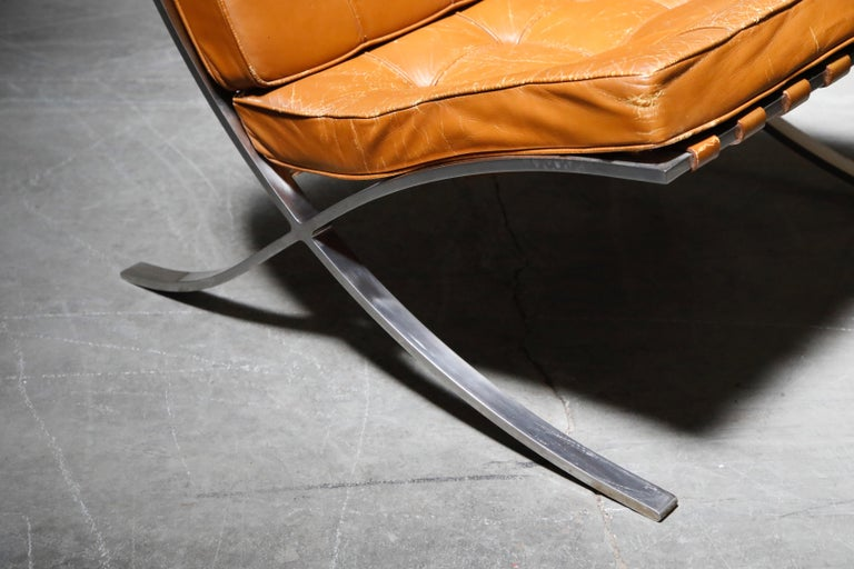1st-Gen Knoll Associates Barcelona Chair by Mies van der Rohe, Double Signed For Sale 8