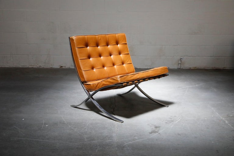 American 1st-Gen Knoll Associates Barcelona Chair by Mies van der Rohe, Double Signed For Sale