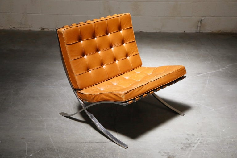 1st-Gen Knoll Associates Barcelona Chair by Mies van der Rohe, Double Signed In Good Condition For Sale In Los Angeles, CA