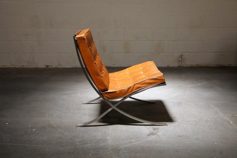 Mid-20th Century 1st-Gen Knoll Associates Barcelona Chair by Mies van der Rohe, Double Signed For Sale