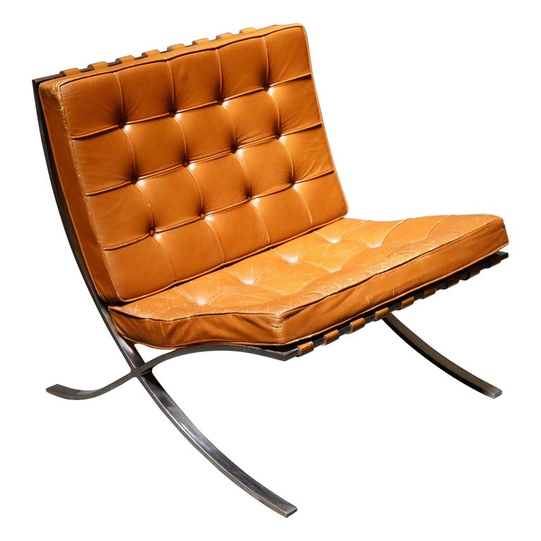 1st-Gen Knoll Associates Barcelona Chair by Mies van der Rohe, Double Signed For Sale