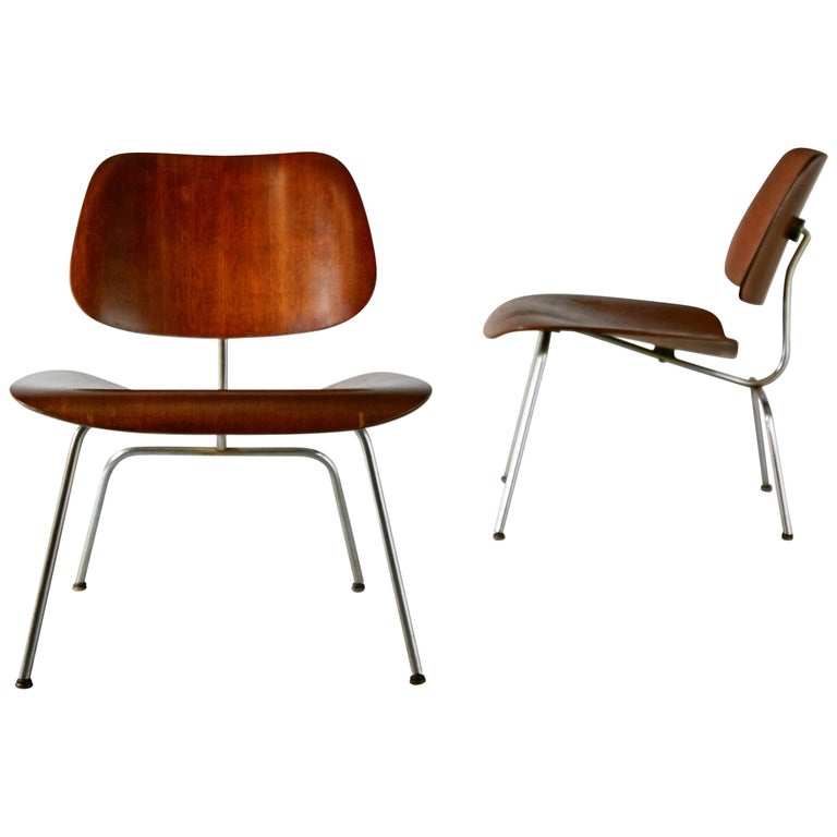 1st Generation Evans Production Charles and Ray Eames LCM Chairs, 1946, Signed For Sale