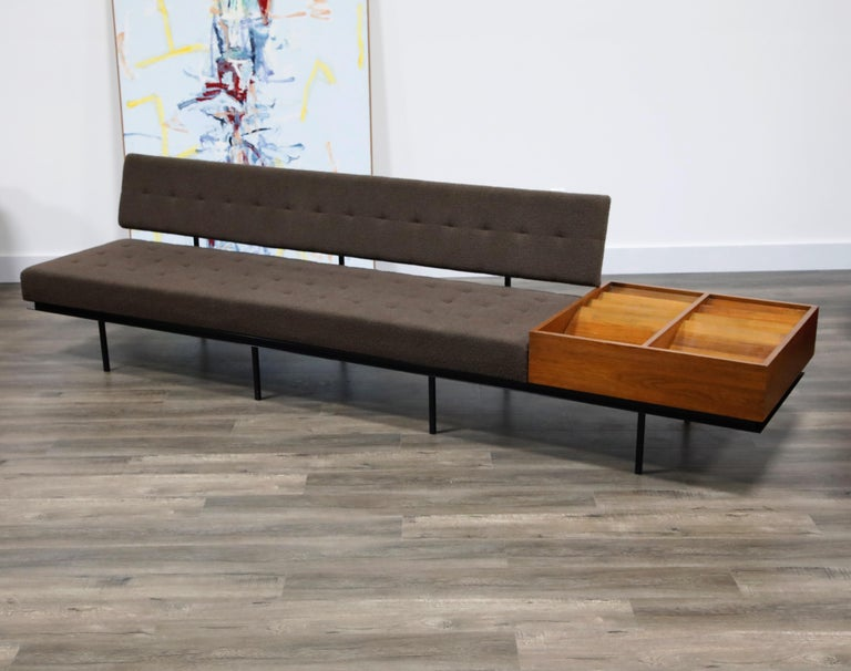 Lacquered 1st Generation Florence Knoll Model #578 Sofa by Knoll Associates, 1950s, Signed For Sale