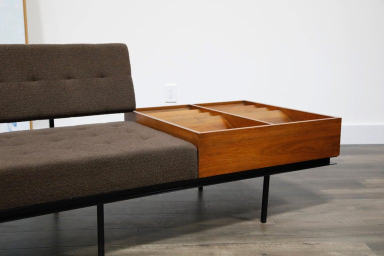Steel 1st Generation Florence Knoll Model #578 Sofa by Knoll Associates, 1950s, Signed For Sale