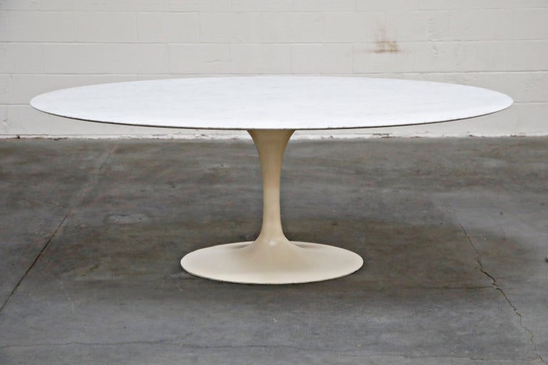 Mid-Century Modern 1st Generation Knoll Associates Marble Tulip Dining Table, 1950s, Triple Signed For Sale