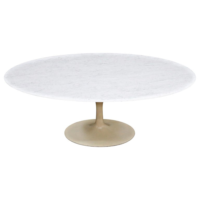 1st Generation Knoll Associates Marble Tulip Dining Table, 1950s, Triple Signed For Sale