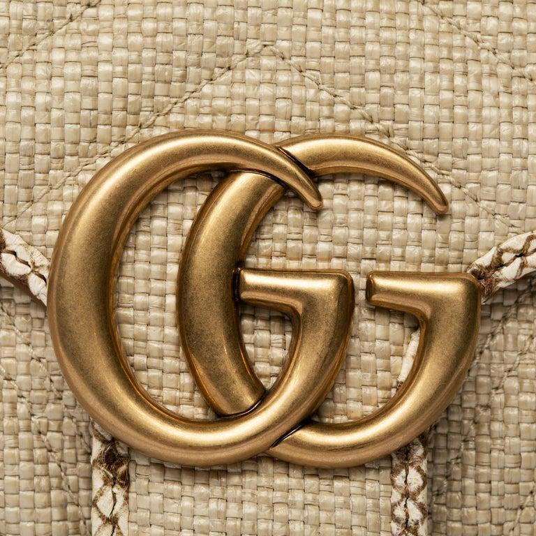 Beige 1stdibs Exclusive Gucci GG Marmont Shoulder Bag Braided Wicker & Python Trim For Sale
