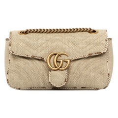 1stdibs Exclusive Gucci GG Marmont Shoulder Bag Braided Wicker & Python Trim