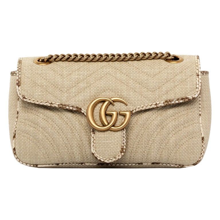 1stdibs Exclusive Gucci GG Marmont Shoulder Bag Braided Wicker & Python Trim For Sale