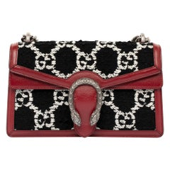 1stdibs Exclusive Gucci Small Dionysus GG Tweed Black, White & Red Shoulder Bag