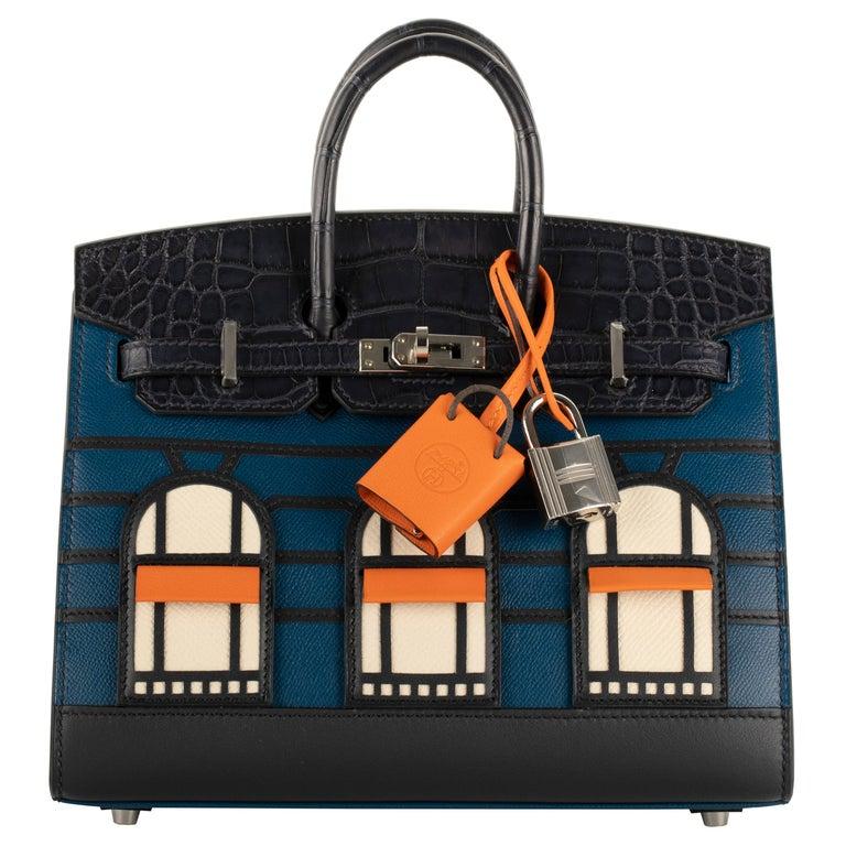 "1stdibs Exclusive Hermès Birkin 20cm ""Night Faubourg"" Palladium Hardware For Sale"
