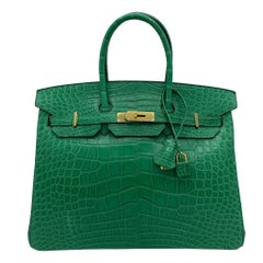 1stdibs Exclusive Hermes Birkin 35cm Cactus Matte Alligator Gold Hardware