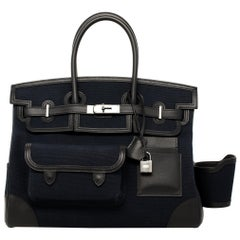 "1stdibs Exclusive Hermes Birkin 35cm ""Cargo"" Blue Marine Swift & Toile Canvas"