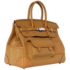 "1stdibs Exclusive Hermes Birkin 35cm ""Cargo"" Sesame Swift & Toile Canvas"