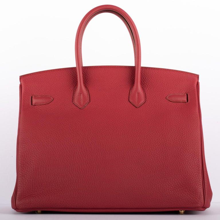 1stdibs Exclusive Hermes Birkin 35cm Rubis Togo Leather Gold Hardware For Sale 7