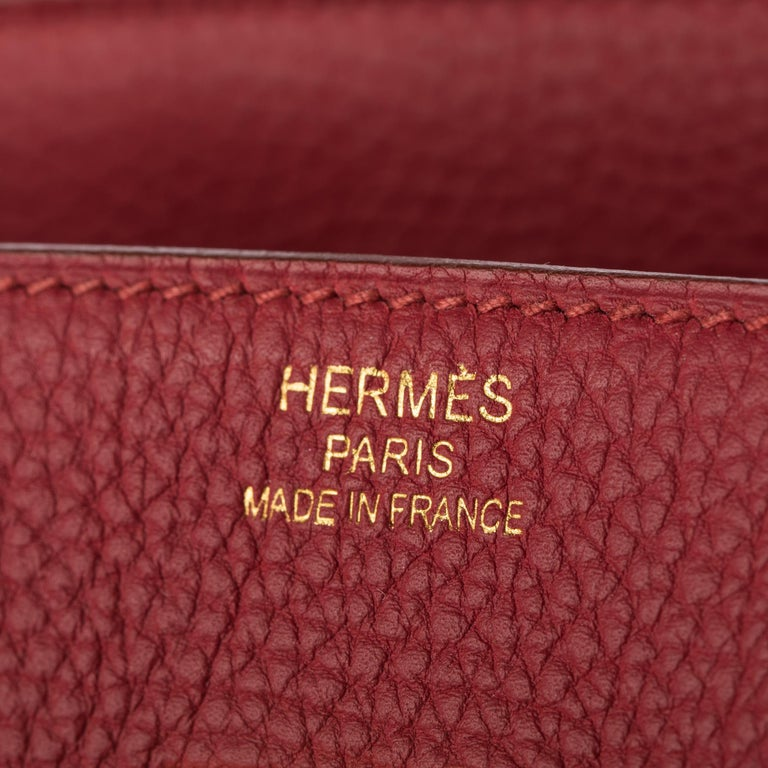 1stdibs Exclusives From Three Over Six  Brand: Hermès  Style: Birkin Size: 35cm Color: Rubis Leather: Togo Hardware: Gold Stamp: 2015 T  Excellent Condition: The item has been used, however is still in very good condition. Minor signs of wear to the