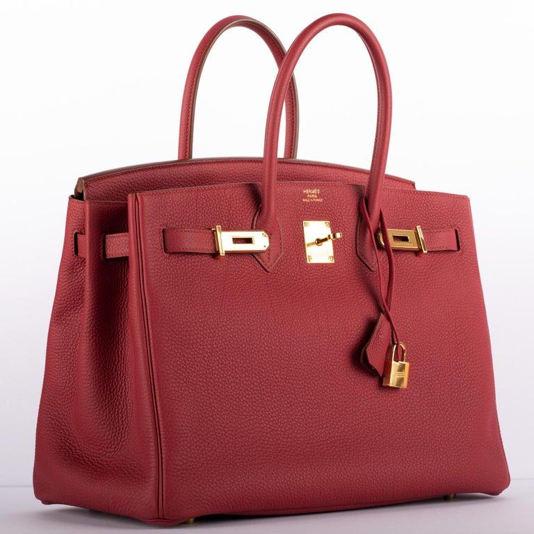 Women's or Men's 1stdibs Exclusive Hermes Birkin 35cm Rubis Togo Leather Gold Hardware For Sale