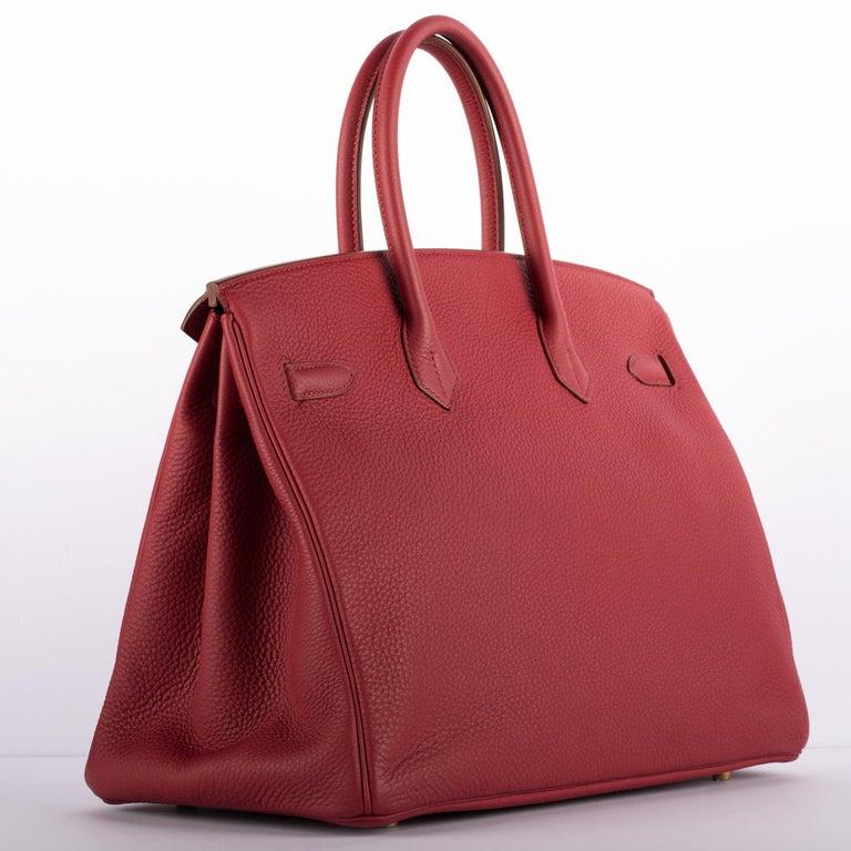 1stdibs Exclusive Hermes Birkin 35cm Rubis Togo Leather Gold Hardware For Sale 4