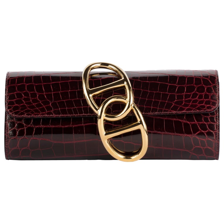 1stdibs Exclusive Hermes Egee Bordeaux Shiny Niloticus Gold Hardware For Sale