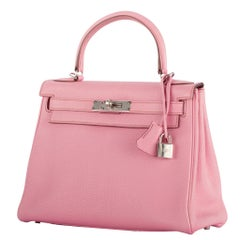 1stdibs Exclusive Hermès Kelly 28cm Bubblegum Togo Leather Palladium Hardware