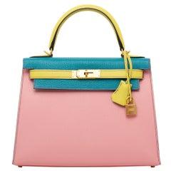 1stdibs Exclusive Hermès Kelly 28cm Tri-Color Rose Chevre Leather Brushed Gold