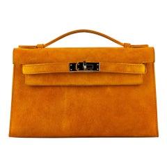 1stdibs Exclusive Hermès Kelly Pochette Orange Doblis Gold Hardware