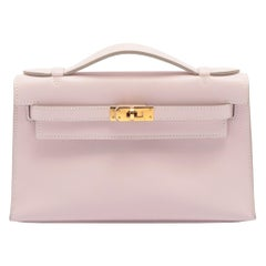 1stdibs Exclusive Hermès Kelly Pochette Rose Dragee Swift Leather Gold Hardware