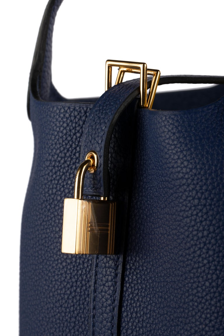 1stdibs Exclusive Hermes Picotin 18cm Blue Saphir Clemence Gold Hardware In New Condition For Sale In Sydney, New South Wales
