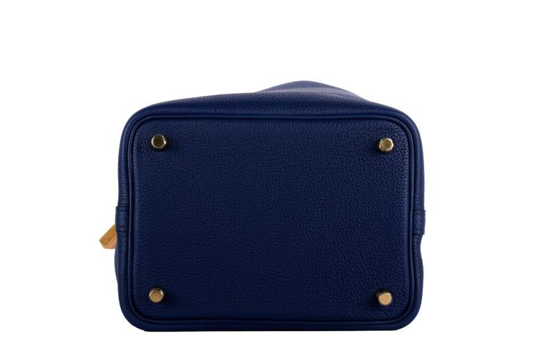 1stdibs Exclusive Hermes Picotin 18cm Blue Saphir Clemence Gold Hardware For Sale 1