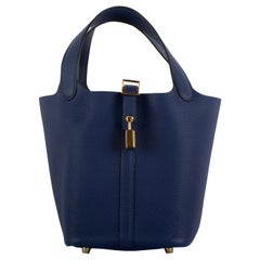 1stdibs Exclusive Hermes Picotin 18cm Blue Saphir Clemence Gold Hardware