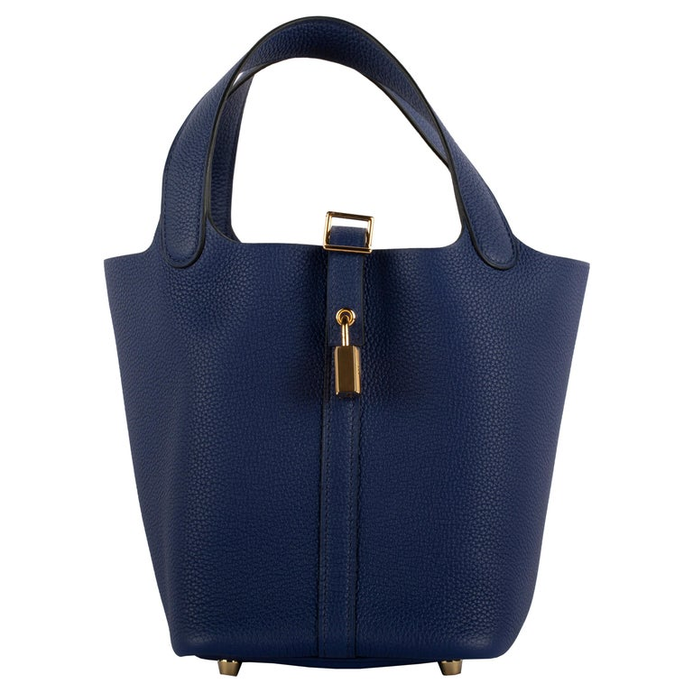 1stdibs Exclusive Hermes Picotin 18cm Blue Saphir Clemence Gold Hardware For Sale