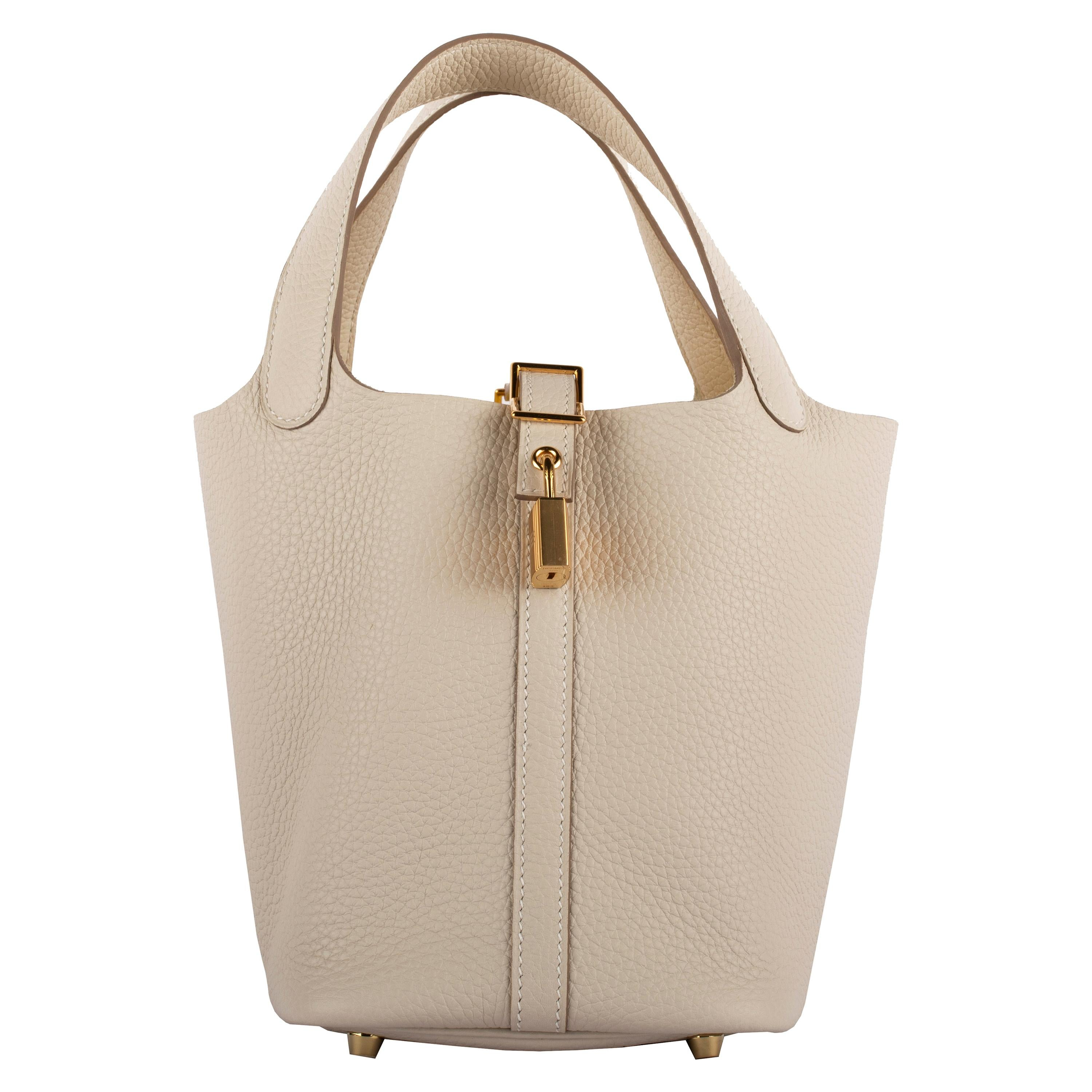 1stdibs Exclusive Hermes Picotin 18cm Craie Clemence Gold Hardware