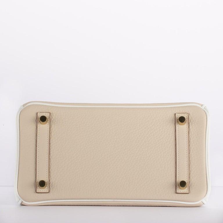 1stdibs Exclusives Hermes Birkin 25cm Craie & White Clemence Gold Hardware For Sale 5