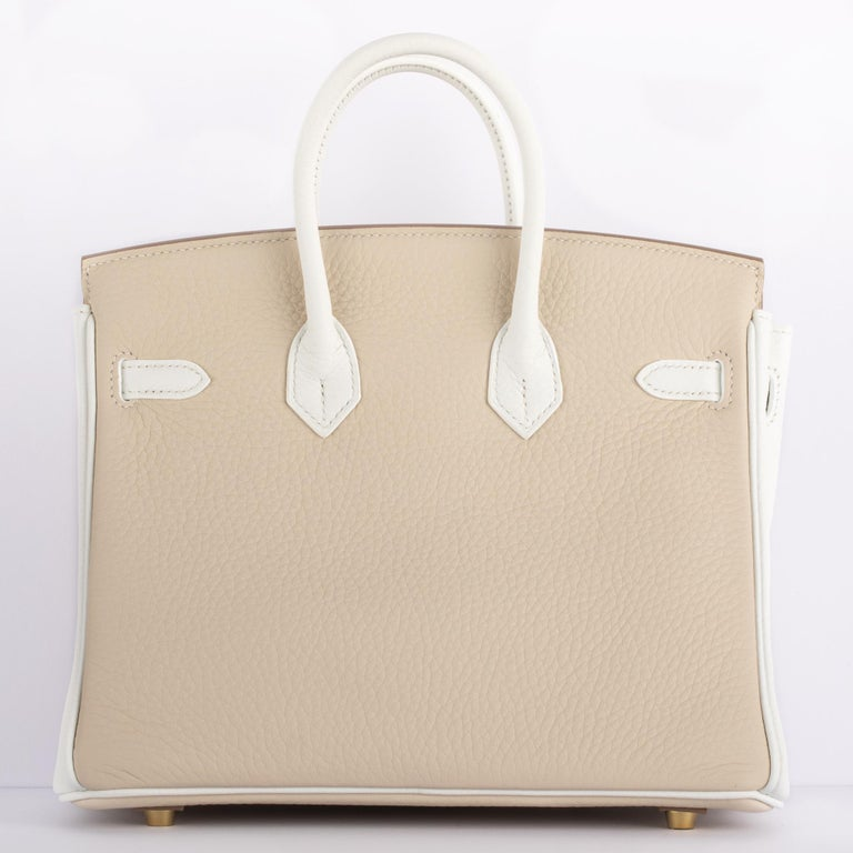 1stdibs Exclusives Hermes Birkin 25cm Craie & White Clemence Gold Hardware For Sale 6